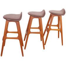 danish bar stools set of three erik buck danish modern teak bar stools at stdibs teak