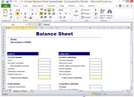 Basic Spreadsheet Template by Simple Balance Sheet Template For Excel