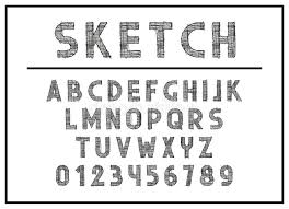sketch font and abc letters print typography vector illustration