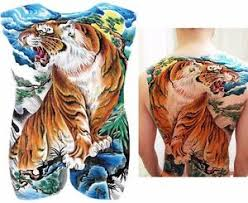 big large back chest japanese tiger temporary sticker
