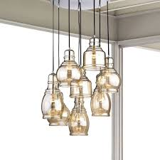 8 Light Pendant Chandelier Mariana 8 Light Cognac Glass Cluster Pendant Chandelier With