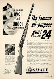 1953 ad for the model 24 22 caliber rifle 410 gauge shotgun