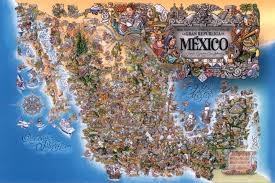 Mexico Map by Artistic Cultural And Tourist Mexico Map Mexico U2022 Mappery