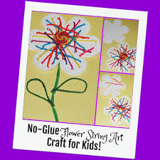 no glue flower string art craft for kids wikki stix