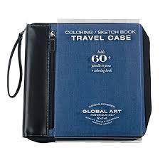 amazon com global art materials coloring book travel case denim