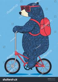 Design For by Cute Bear On Bicycle Vector T Stock Vector 639260092 Shutterstock