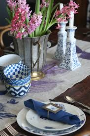 splurge versus steal blue and white spring tablescape