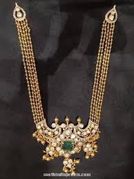 gold pendant long necklace images Gold long necklace with emerald pendant south india jewels jpg