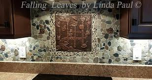 kitchen backsplash medallions falling leaves backsplash medallion tile accents pebble backsplash