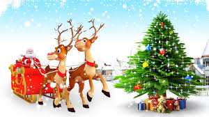 santa claus with reindeer and christmas tree vector wallpaper