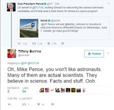 vp mike pence will visit nasa but twitter is having none of it