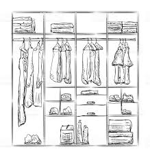 sketch room wardrobe sketch room interior with clothes stock vector art