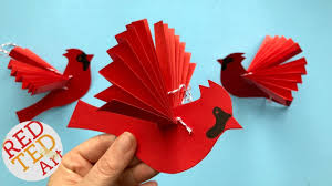 paper fan bird decoration paper cardinal ornament diy diy paper