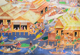 thai mural painting of floating market on temple wall stock photo thai mural painting of floating market on temple wall stock photo 29153359