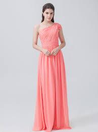 one shoulder chiffon dress color peach pink fabric chiffon