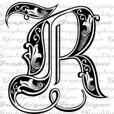 drawn randome letter r pencil and in color drawn randome letter r
