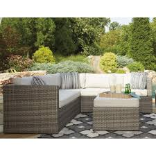 patio sectional sofa signature design by ashley peckham park outdoor sectional set with