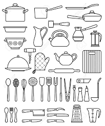 brilliant kitchen utensils silhouette and pots in design