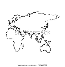 africa map black and white vector drawing map europe africa asia stock vector 729714040