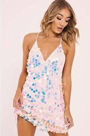 sequin dress damara pink mermaid sequin slip dress in the style