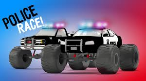 monster truck cartoon videos police monster truck race 3d video for kids educational video