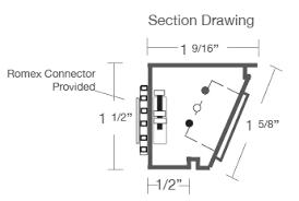 Under Cabinet Plug Strip Angled Power Strip Single Receptacle