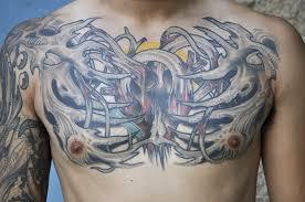 biomechanical skeleton on chest tattoos book 65 000