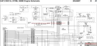 peterbilt cat c10 c12 3176b 3406e engine schematic sk24807