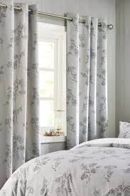 Grey Curtains For Bedroom Buy Grey Floral Blackout Eyelet Curtains From Next Israel