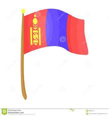 Single Flag The Tricolor On The Stick National Flag Of Mongolia Mongolia