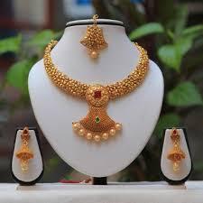 gold short chain necklace images Buy online antique beautiful pearl drop green maroon kundan short jpg