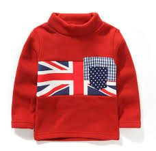 British Flag Shirts Autumn Winter British Flag Turtleneck Sweat Boys T Shirts Basic