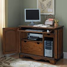Computer Desk With Doors Furniture Brown Lacquer Hickory Wood Compact Computer Desk With