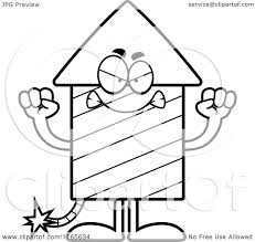 cartoon clipart of a mad rocket firework mascot vector outlined