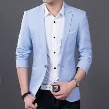 light blue jacket mens men blazer long sleeve slim fit oxford sky blue clacent