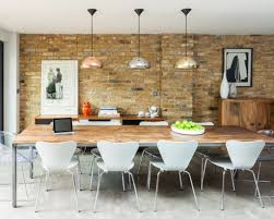 exposed brick wall lighting nice exposed brick wall decor using metallic pendant lights with