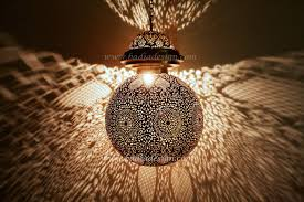 Large Moroccan Chandelier Large Moroccan Hand Punched Hanging Brass Ball Lantern From Badia