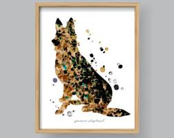 German Home Decor German Shepherd Watercolor Painting Print By Slaveika