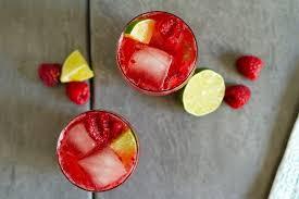 sparkling raspberry caipirinha cocktails