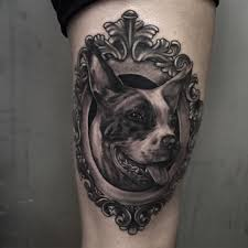 tattoo on thigh ideas framed dog tattoo on thigh best tattoo ideas gallery
