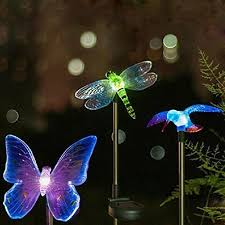 sets solar lawn light hummingbird dragonfly butterfly figurine