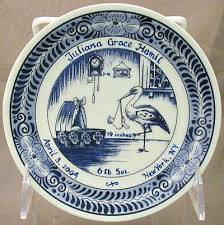 6 delft blue birth plate personalized birth tiles birth plates