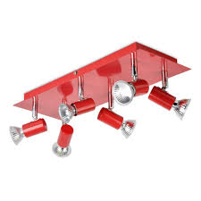 Red Ceiling Lights by Minisun Modern Rectangular Silver Chrome 6 Way Adjustable Gu10