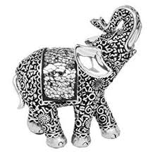 mini elephant ornament beautifully detailed silver and black