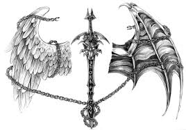 sword with angel and devil wing tattoo design by nalavara