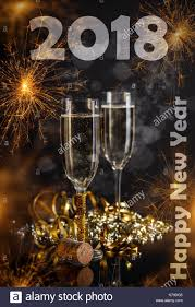 new years chagne glasses 2018 new year concept chagne glasses on festive sparkler stock