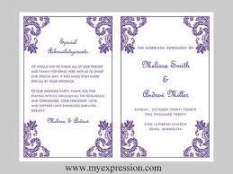 Word Template For Wedding Program Wedding Program Template U2013 Purple Damask Ornament Instant