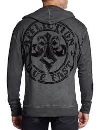 affliction live fast appliqué hoodie in gray for men lyst