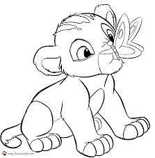 baby lion and butterfly coloring pages for kids to print free