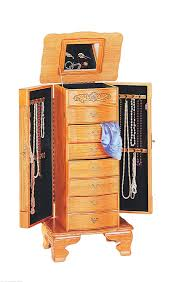Jewelry Chest Armoire Furniture Black Over The Door Jewelry Armoire With Mirror And